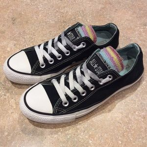 CONVERSE ALL-STAR MULTI TONGUE BLACK LOW TOPS